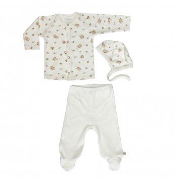 Комплект для новорожденных из трех предметов, Lucky tots, Мишки, молочный