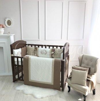 Комплект постельного белья для кроватки Маленькая Соня Royal 6 предметов шоколад