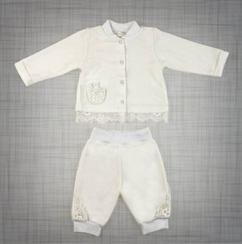 Крестильный велюровый костюм DANAYA белый 091F