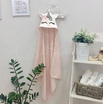 Полотенце-уголок Маленькая Соня Единорог Розовый 80х80 см