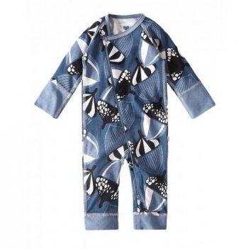 Комбинезон для новорожденных Reima NAURAA, хлопковый, темно-голубой с рисунком
