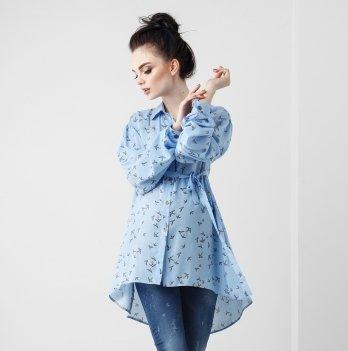 Блуза для беременных и кормящих мам Dianora, Ласточки, голубая, 1815 1035