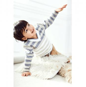 Джемпер вязаный ТМ Lutik для мальчиков, в полоску, серо-белый