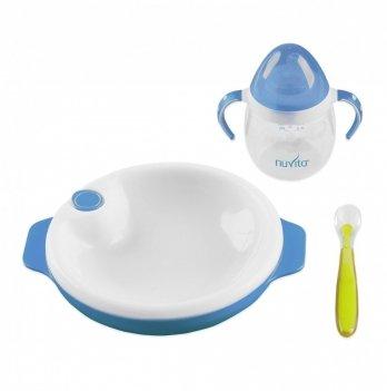 Набор для кормления Nuvita 6м+, 3 предмета, голубой