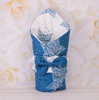 Демисезонный конверт-одеяло с поясом резинкой Бетис Сузір'я Белый/Синий 27082242 85х85 см