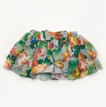 Юбка-шорты Модный карапуз, яркие цветы на сером