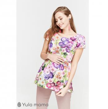 Блуза для беременных и кормящих мам MySecret, экрю с яркими цветами