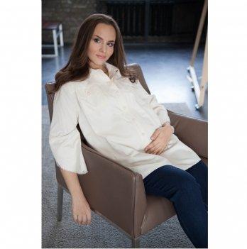 Рубашка с вышивкой для беременных и кормящих MBerry dress Молочный