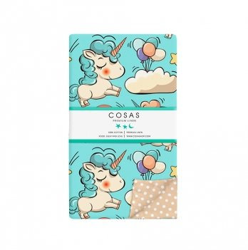 Детский пододеяльник Cosas Unicorn Mint 110х140 см