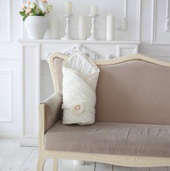 Вязаный конверт-одеяло Magbaby шерсть-трикотаж молочный