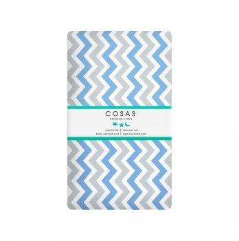 Простынь на резинке бязь Cosas Зигзаг голубой серый 60х120 см