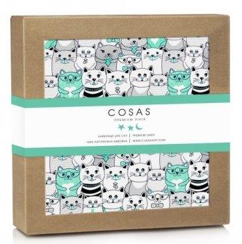 Непромокаемый наматрасник Cosas Water Sheet Cats Mint 70х120 см