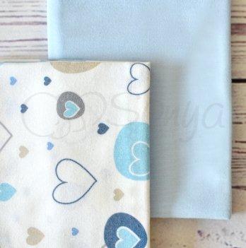 Подарочный набор пеленок Маленькая Соня Сердечки голубые 2 шт.
