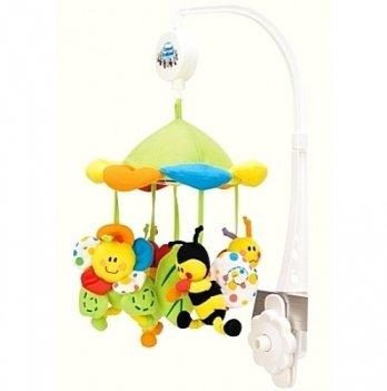 Мобиль в кроватку Canpol babies Цветная поляна, плюшевый, с балдахином