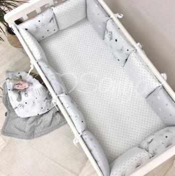 Комплект бортики и простынь Маленькая Соня Baby Design Коты в облаках Серый 0720399
