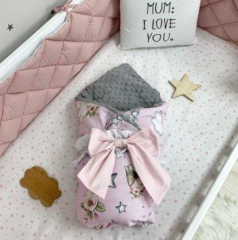 Плед конверт для новорожденных Маленькая Соня Куклы на розовом Розовый/Серый 10500561