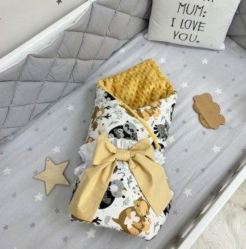 Плед конверт для новорожденных Маленькая Соня Зверушки с малышами Желтый/Белый 10500560