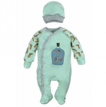 Человечек для новорожденных и шапочка Sweet Mario Ментоловый 10-09-7