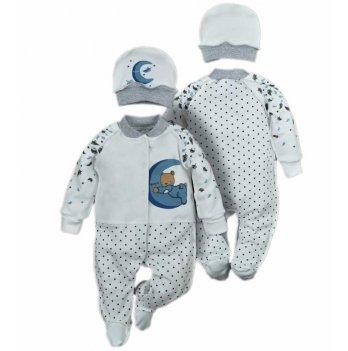 Человечек для новорожденных и шапочка Sweet Mario Молочный 10-09-10