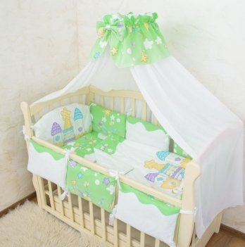 Комплект постельного белья в кроватку Бетис Замок-7 Салатовый 60х120 см