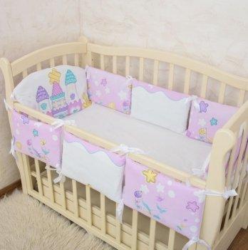 Бортики в кроватку Бетис Замок розовая