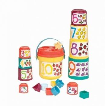 Игровой набор Battat Lite - Сортер-пирамидка 2 в 1 (19 предметов)