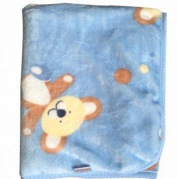 Плед велюровый Twins Мишка, 80 х 104 см, blue