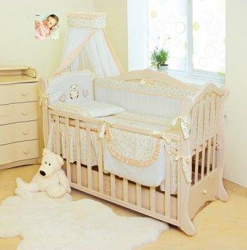 Детская постель Twins Romantik 8 элементов Сердечки R-002, бежевый