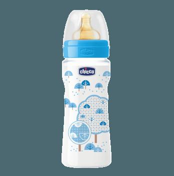 Бутылочка пластиковая Chicco Well-Being 330 мл, соска латекс, голубая, 4+