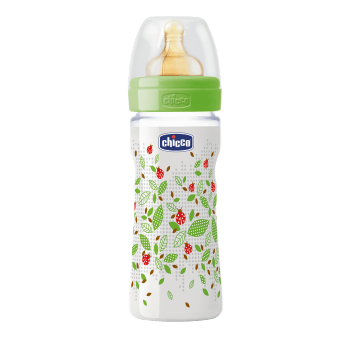 Бутылочка пластик Well Being соска латекс 2m+ Chicco зеленый 250 мл.