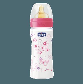 Бутылочка пластиковая Chicco Well-Being 250 мл, соска латекс, розовая, 2+