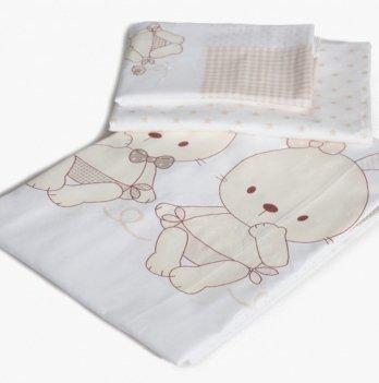 Сменный комплект детской постели Twins Dolce D-001, Друзья зайчики, beige