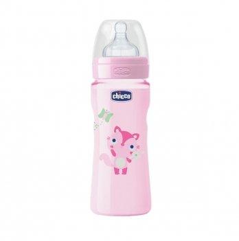 Бутылочка пластик Well Being соска силикон 4m+ Chicco розовый 330 мл.