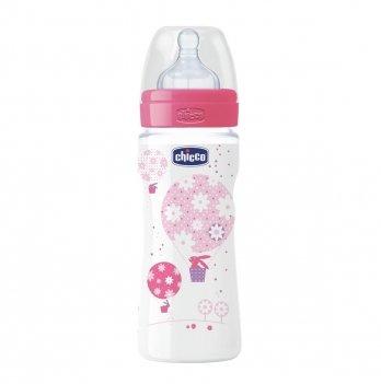 Бутылочка пластиковая Chicco Well-Being 330 мл, соска силикон, розовая, 4+