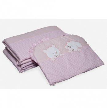 Бампер в кроватку Twins Котик и собачка, A-004, розовый