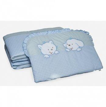 Бампер в кроватку Twins Котик и собачка, A-003, голубой