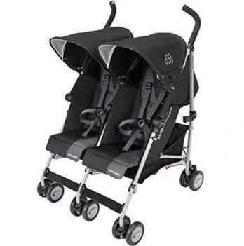 Прогулочная коляска Maclaren Twin Triumph для двойни, черная с серым