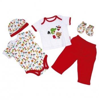 Комплект для малышей Arditex Fisher-Price, 0-6 мес, 5 ед, белый/красный