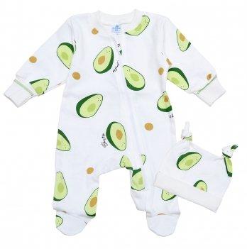 Человечек для новорожденных на молнии Minikin Авокадо 0-3 месяца Молочный/Зеленый 2018403