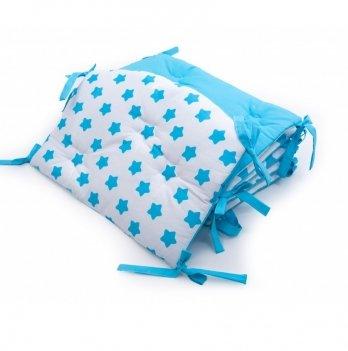 Бортики в детскую кроватку Twins Premium Звездочка стеганный Голубой