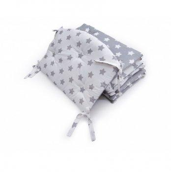 Бампер в кроватку Twins Premium Звездочка стеганный Белый/Серый