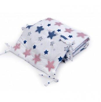 Бортики в детскую кроватку Twins Premium Звездочка стеганный Синий/Красный