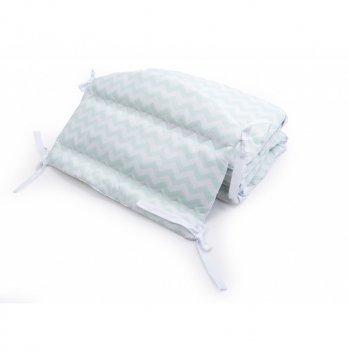Бортики в детскую кроватку Twins Premium Зигзаг стеганный Мятный