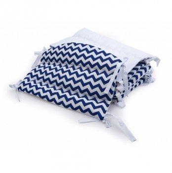 Бортики в детскую кроватку Twins Premium Зигзаг стеганный Синий/Белый