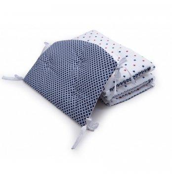 Бампер в кроватку Twins Premium Маракеш стеганный Синий/Белый