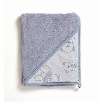 Полотенце-уголок с капюшоном Twins Aqua махра Серый 100х100 см