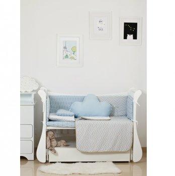 Комплект постельного белья Twins Dolce Insta Зигзаг Голубой/Золото 4075-D-506 6 предметов