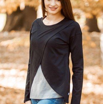 Блуза-разлетайка Skif Textile, черная/серая