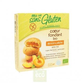 Органическое безглютеновое бисквитное печенье с начинкой персик-абрикос 200 г, Еuro-nat