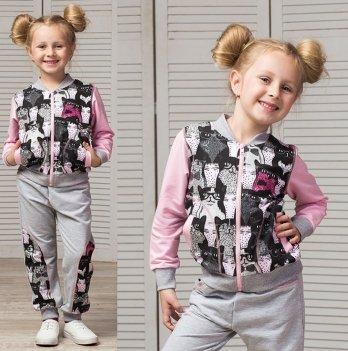 Костюм для девочки Joiks, возраст от 2 до 7 лет, серый/розовый